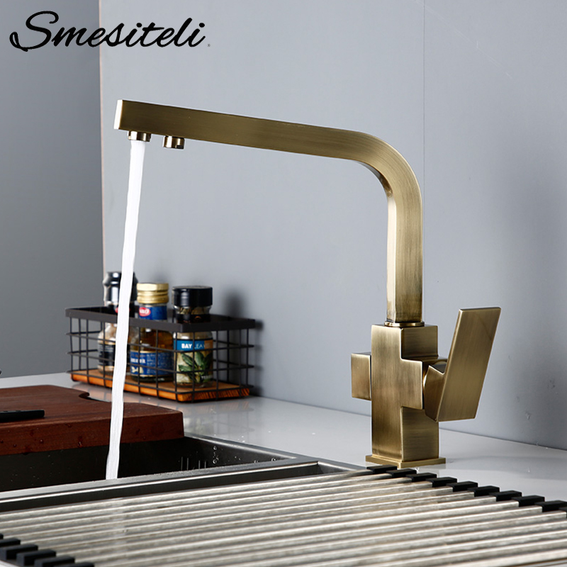 Smesiteli Kitchen Faucets Brushed Antique Bronze 3 Way Tap Filter Faucets Dual Holder Kitchen Faucets 360 Degree Rotation Faucet
