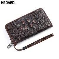 HGOAED Genuine Leather Men Wallets New Male Purse Zipper Clutch Bag Men S Fashion Wallet Crocodile