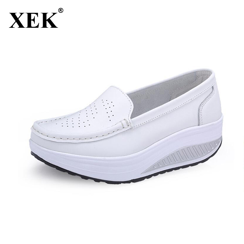 Plus Size 35-40 Summer Women Flat Platform Shoes Woman White Nursing Shoes Cut-out Loafers Slip on Moccasins Shoes woman ST197 summer slip on shoes women oxfords shoes loafers flats woman casual flat shoes high quality plus size 35 40