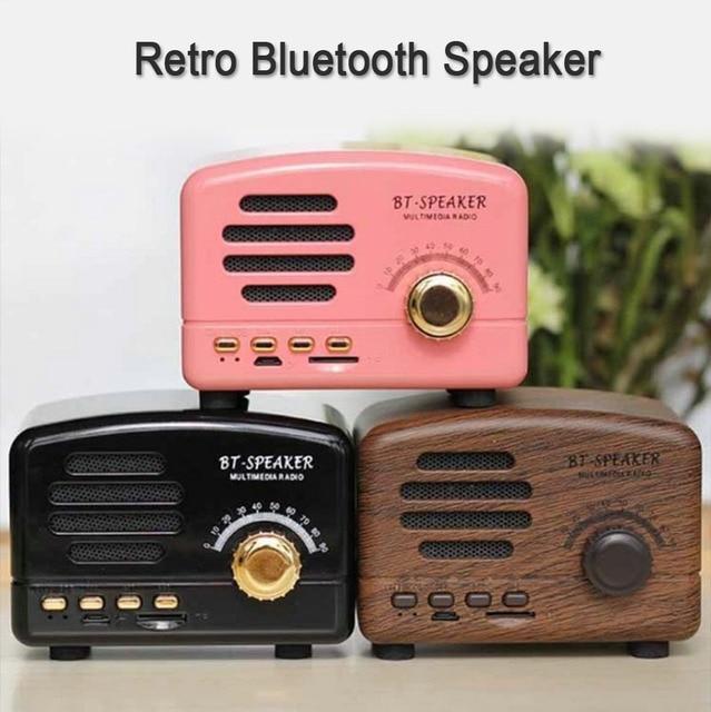 Retro Wireless Bluetooth Speaker Mini Portable Speakers Adjustable Heavy Bass Loudspeakers Support TF Card FM Radio