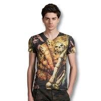 2017 Mężczyzn Fitness Dorywczo Homme T Koszule męskie Dorywczo Mody Szczupła Fit Krótki Rękaw V Neck 3D Print T shirt Camisa Masculina mężczyźni