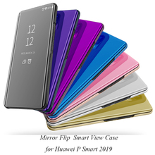 Mirror Flip Case For Huawei P Smart 2019 Luxury Clear View PU Leather Cover phone
