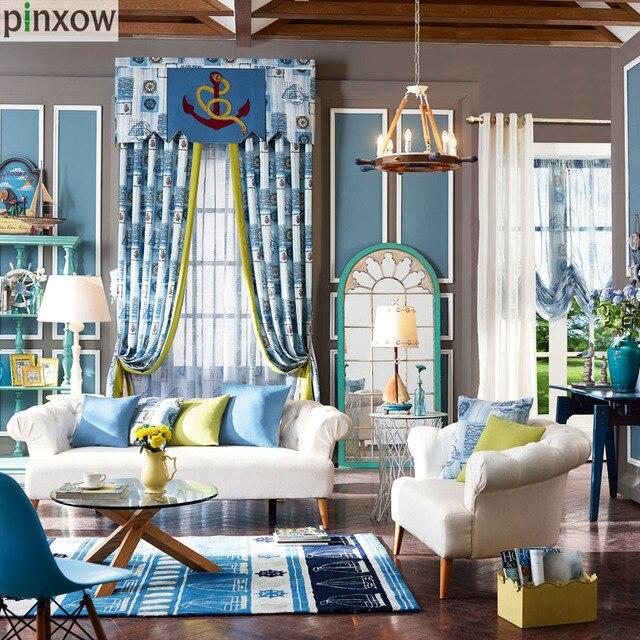 Kinder Fenster Vorhänge Blau Boot Mädchen Schlafzimmer Vorhang Stoffe Grün  Jungen Vorhänge Kinderzimmer Ballon Fenster Behandlung