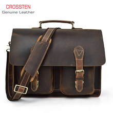 "Crossten 100% Genuine Cow Leather Men's business Briefcase Tote crazy-horse leather document messenger bag 15"" laptop bag(China)"