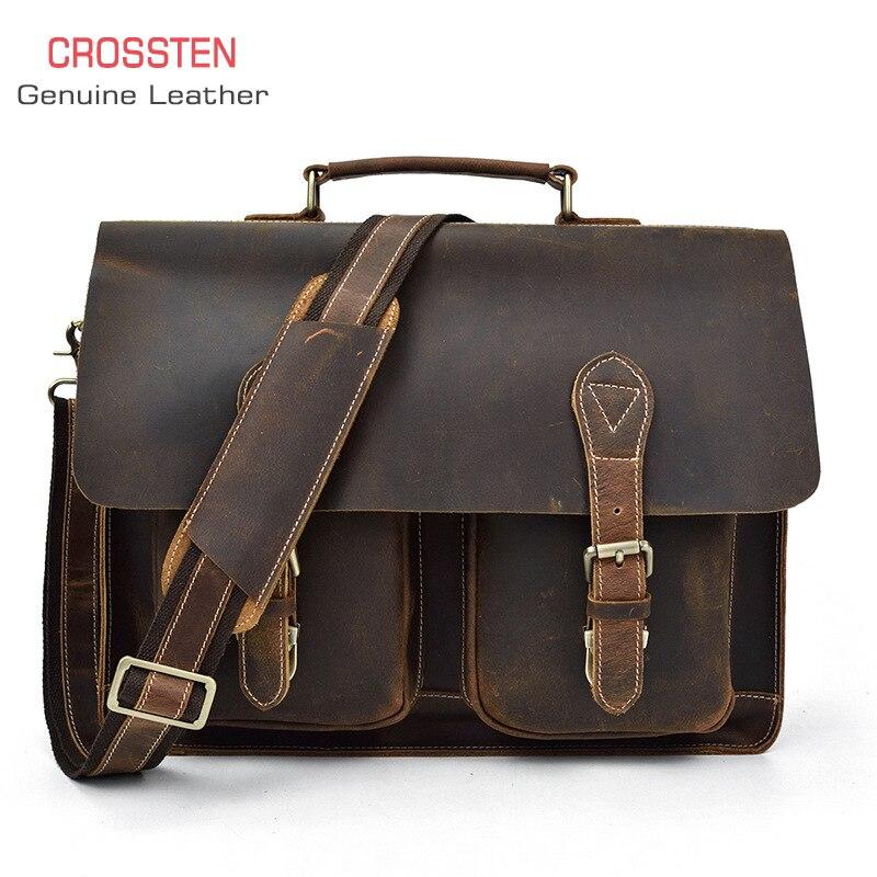 Crossten 100% cuir de vache hommes porte-documents fourre-tout sac messenger voyage 17
