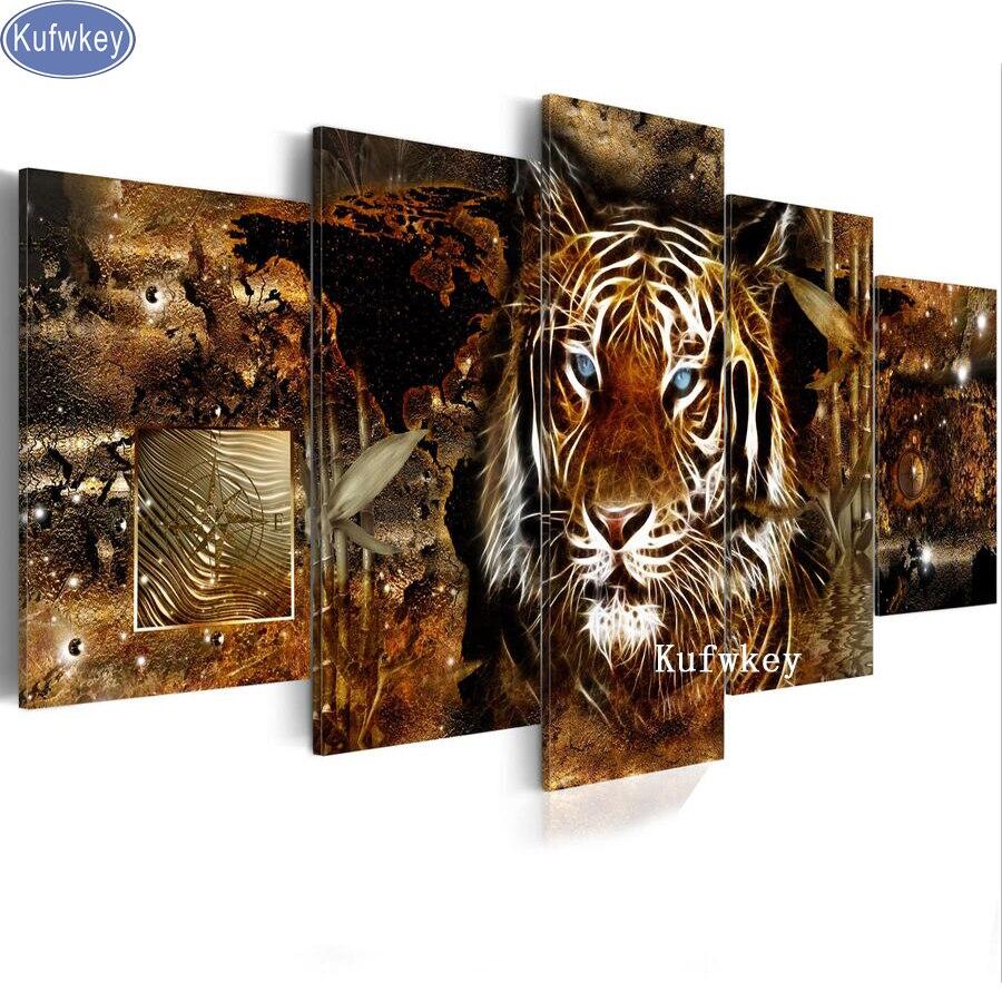 Animal Diamond Embroidery full square cross stitch tiger pictures diy diamond painting sale 5 pcs diamond