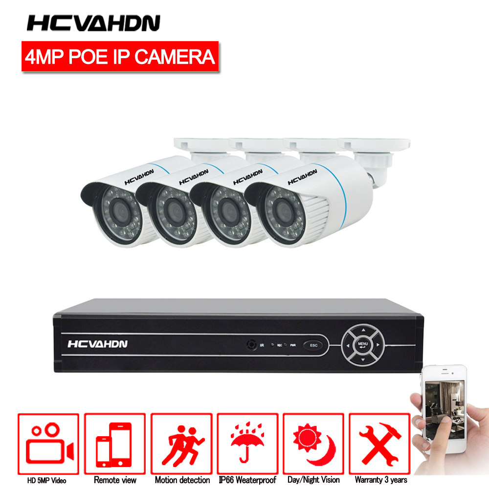 HCVAHDN 4CH 5MP CCTV Camera System NVR Kit 4.0MP Outdoor Security 4 x 4MP POE IP Camera P2P IR-CUT Video Surveillance System Set image