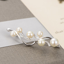 gNpearl Wave Freshwater Pearls Brooch 925 Sterling Silver High grade natural Elegance pearl Brooch Sweater jewelry Trendy Gift(China)