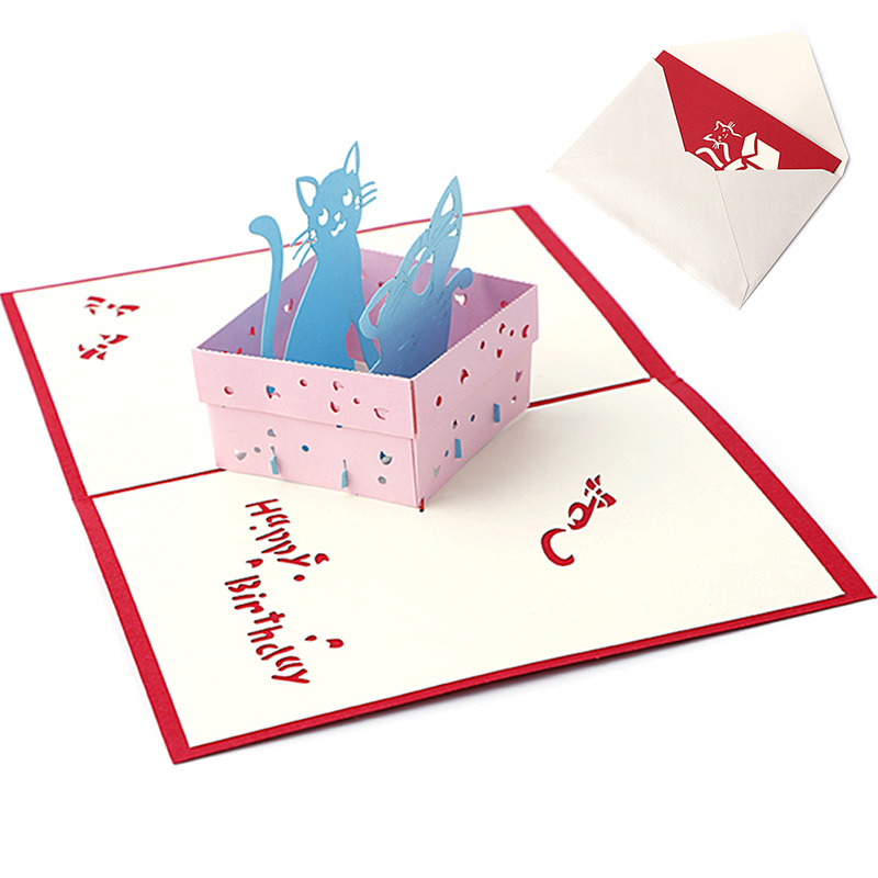 3D Pop UP Holiday Greeting Card Cat Box Animal Christmas