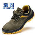 Tamaño grande de los hombres transpirable agujero de aire de trabajo puntera de acero zapatos de seguridad suela antideslizante botas bajas de la placa de verano calzado de protección sapato