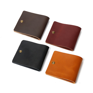 2018 Vintage Designer Real Cow Genuine Leather women Men Slim Thin Mini Wallet Small Purse Money Clip Credit Card Dollar Price(China)