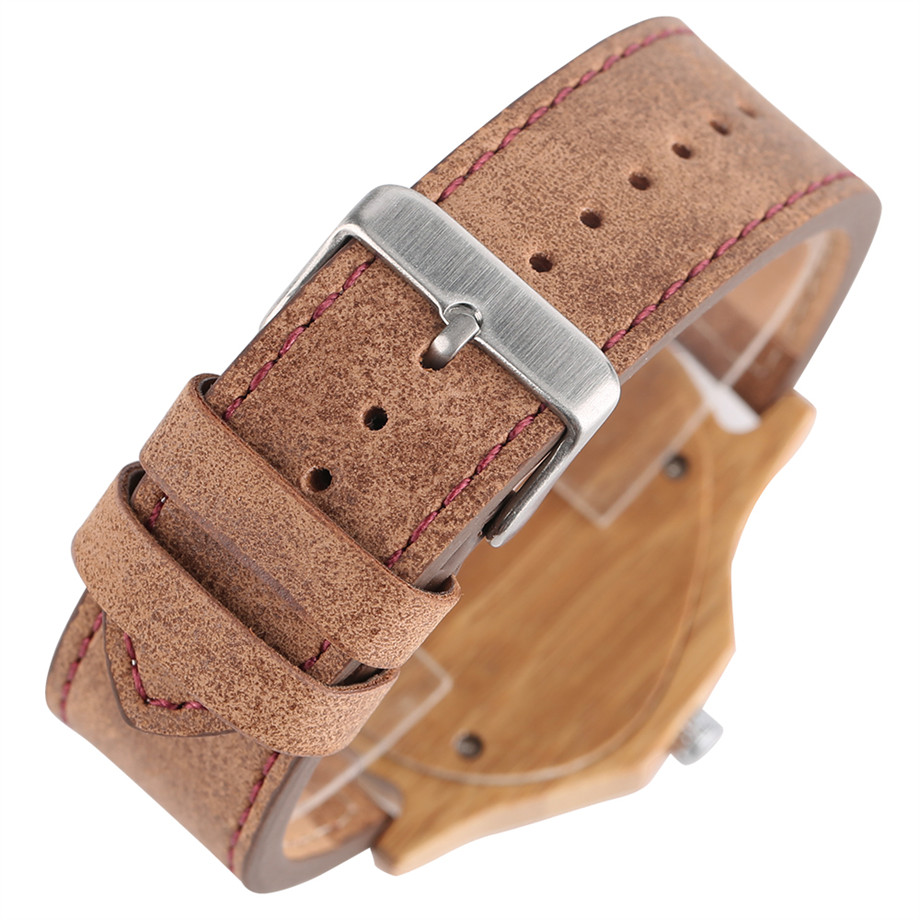 genuine leather band pink buckle quartz bamboo watches06
