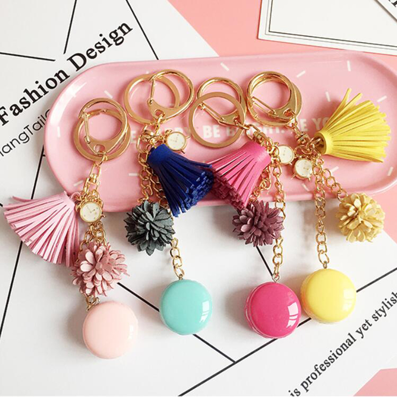 Fashion Cute Macaroon KeyChain Leather Tassel Key Chain Simulation Mini Cake Key Ring For Women Bag Charm Pendant Jewelry Gifts in Key Chains from Jewelry Accessories