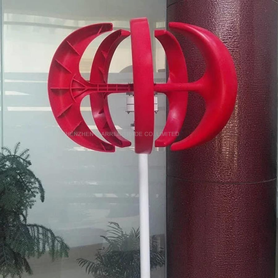 300W 12V Small Beautiful Home Wind Turbine NE-300S,AC 3-Phase Permanent Magnet Generator Fiber Glass Blades CE RoHS ISO9001 300w wind power generator 5 glass blades verticalwind turbine ne 300s ac 3 phase permanent magnet generator