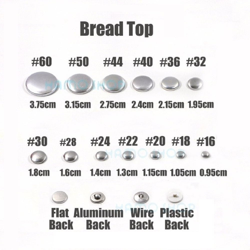 100 stücke Sets/lot #16-60 DIY Handgemachte Stoff tasten Brot Form Runde Stoff Tuch Taste metall 4 Zurück Abdeckung Tasten 13s