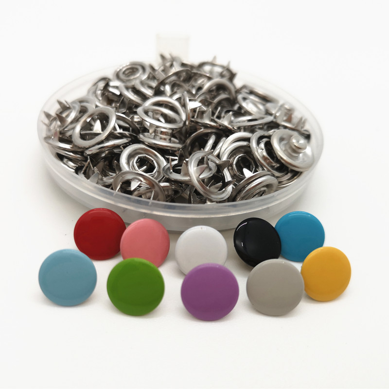 <font><b>10mm</b></font> solid metal Cap prong snap <font><b>Buttons</b></font> 100 sets Clamps Press rivets Poppers children's sliders buckle image