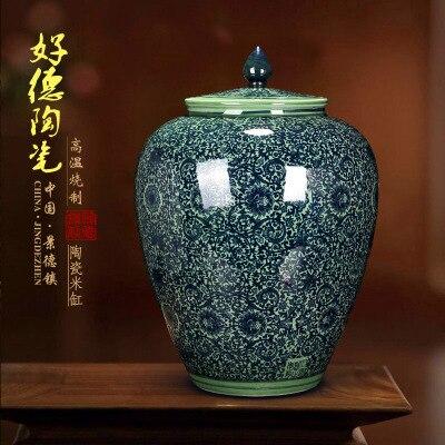 Jingdezhen ceramic barrel 10 kilograms to ricer box barrel with cover tank it oil cylinder can save m kimchi cylinder