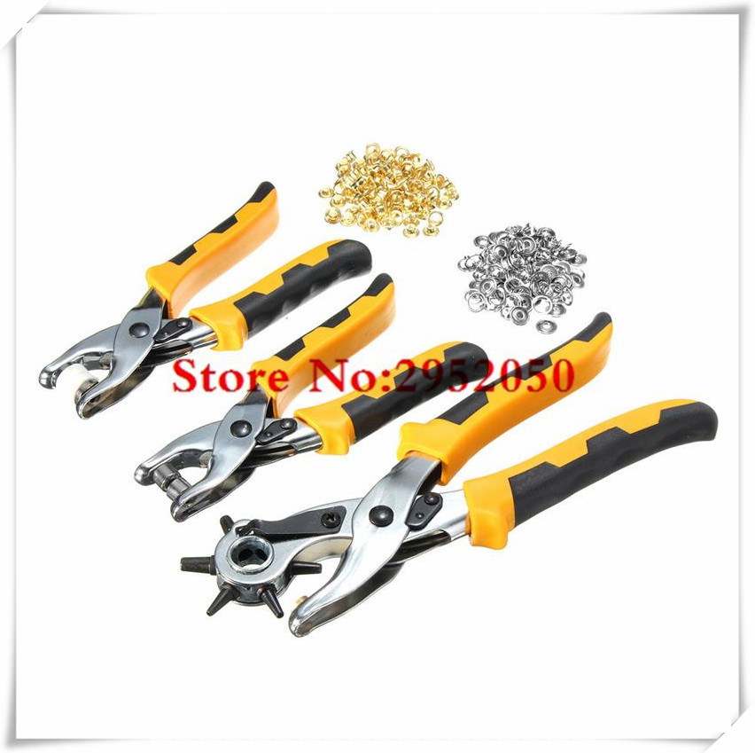 3 in1 Leather Belt Hole Punch+ Eyelet Plier +Snap Button Grommet Setter Tool Kit Black+Yellow+Silver Steel+PVC Plastic Handle