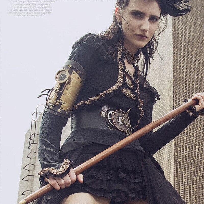 Accessoire Steampunk Takerlama Bracelet de bras de gant en cuir véritable avec boussole Led Costumes d'halloween Style Lolita en solde!!