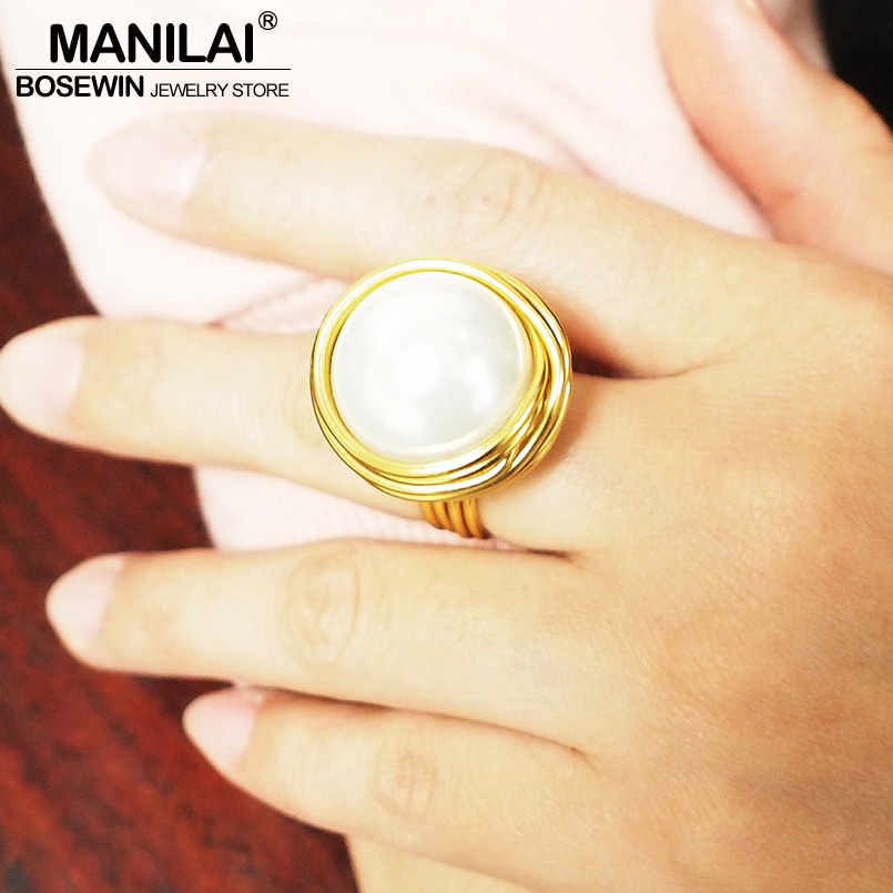 MANILAI Handmade Statement Rings For Women Wire Spiral Round Imitation Pearl Big Rings Finger Rings Fashion Jewelry 2019