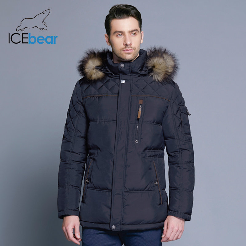 ICEbear 2018 Fashion Winter New Jacket Men Warm Coat Fashion Casual Parka Medium-Long Thickening Coat Men For Winter 15MD927D 2