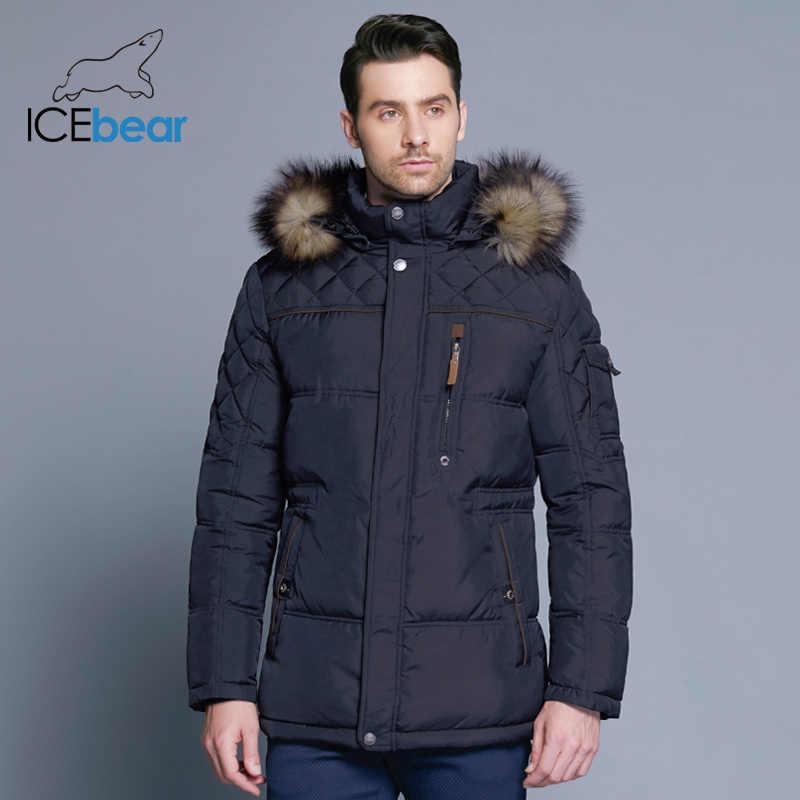 81b54300980e9 ... Icebear 2018 Новинка зимы Куртка Мужская теплое пальто модная  повседневная куртка средней длины утолщение пальто мужчины ...