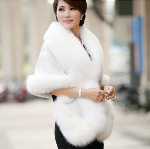 Ladies Wedding Party Faux Fox Mink Fur Luxury Cape Shawl Wrap Shrug Scarf Stole Bridal Wedding Mink Rabbit Fur Dress