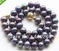 $ Wholesale_jewelry_wig $ liberan Encanto!! 9 ~ 10mm rainbow Natural-collar de perlas de agua dulce negro