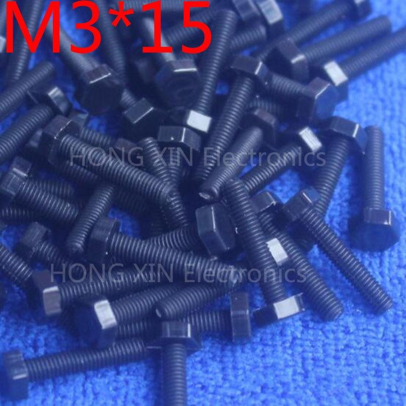 M3 * 15 15mm preto 1 pcs Hexagonal Parafusos de nylon parafusos de Fixação de Isolamento De plástico brand new RoHS compliant PC/DIY placa parafuso
