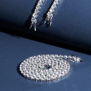 Image 3 - Collar de plata de ley 925 con circonita cúbica brillante para hombre, cadena dorada y plateada, estilo Hip Hop, de 3 a 6mm
