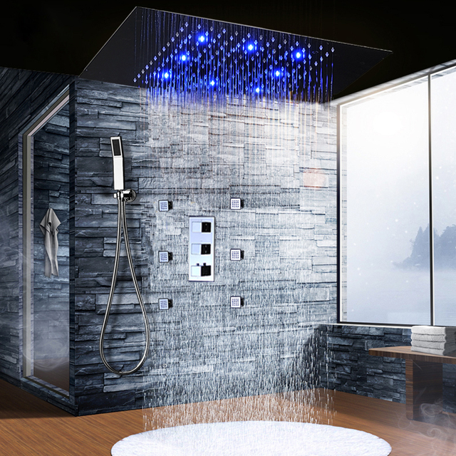 led shower set thermostatic rain shower bath 3 color changing stainless steel shower head panel. Black Bedroom Furniture Sets. Home Design Ideas