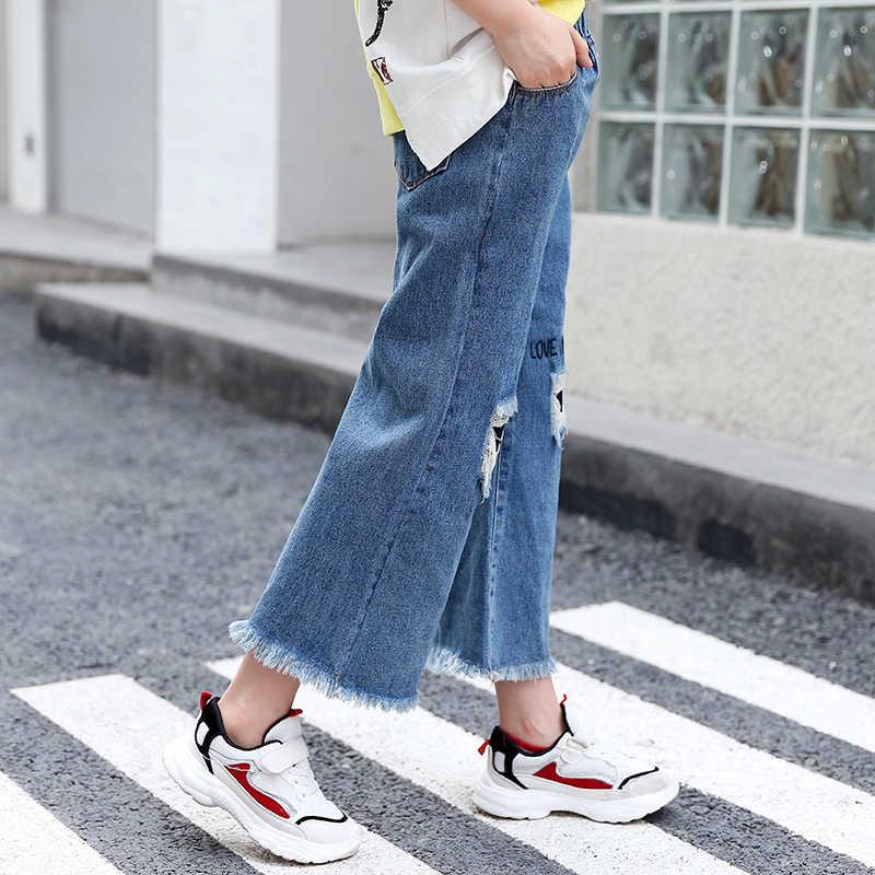 Büyük Kızlar Sonbahar pamuklu pantolonlar Çocuklar Rahat Delik Kot Tayt Çocuk Geniş Bacak Kadın Çocuk Mektubu Pantolon Yağ Giysileri