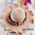 Flor strawhat sombrero grande del borde de la onda sunbonnet femenino del verano de sol plegable casquillo de la playa