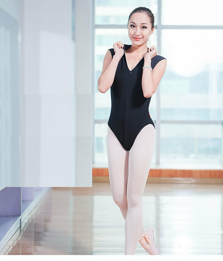 Ballerina Dance Leotards Ballet Leotards For Women Stand Collar Sleeveless Black Sexy Deep V-neck Gymnastics Leotards For Women