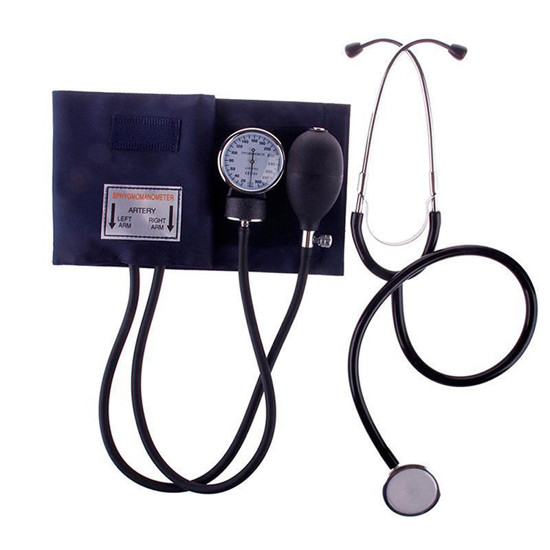 Medical Blood Pressure Monitor Meter Tonometer Cuff Stethoscope Kit Travel Sphygmomanometer image