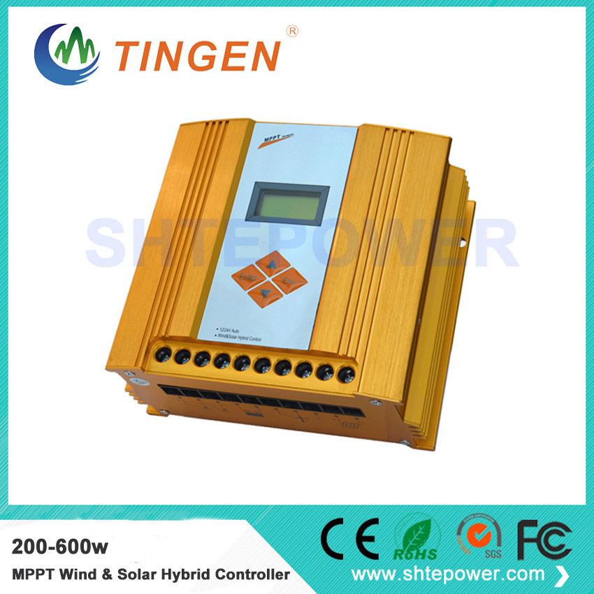 Auto recognition 12v/24v mppt solar panel charge controller wind generator controller hybrid 200-600w 600w wind solar hybrid controller mppt charging mode 12v 24v auto distinguish off grid battery controller