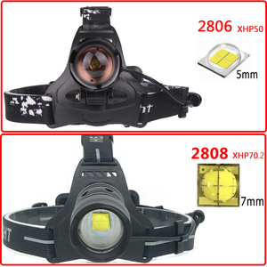 Image 2 - Lampe frontale frontale avec Zoom/sortie, batterie Lithium Ion Xhp70.2, lampe torche originale à 3 ampoules