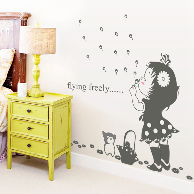 cute girl wall stickers for kids rooms daycare wall decorations nursery decor children poster mural decal - Nursery Decorations