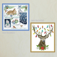 Joy Sunday,Christmas reindeer,cross stitch embroidery set,printing cloth embroidery kit,needlework,animal pattern embroidery kit joy sunday christmas dogs cross stitch embroidery set printing cloth embroidery kit needlework animal picture cross stitch