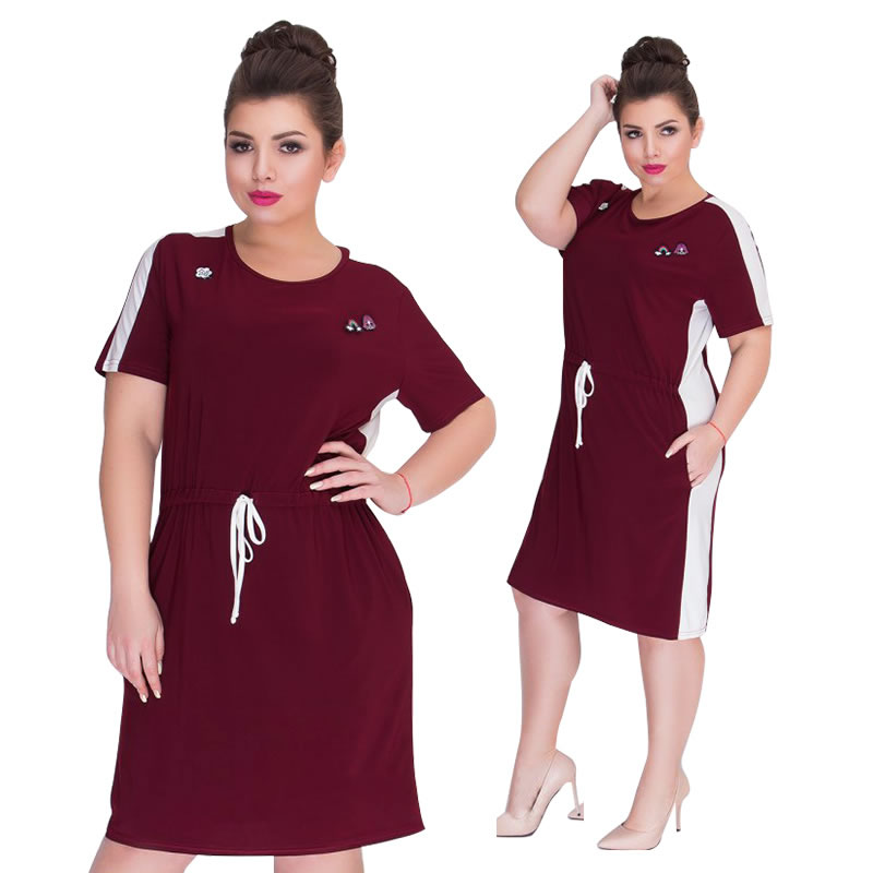 2019 Summer Dress Short Sleeve Casual Women Dress Plus Size Women Clothing Navy Big Size Short Dress 5XL 6XL Vestidos