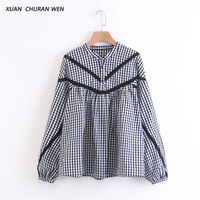 XUANCHURANWEN New Autumn Plaid Blouse Cotton Women Long Sleeve Tops Ladies Stand Collar Shirt Women Loose