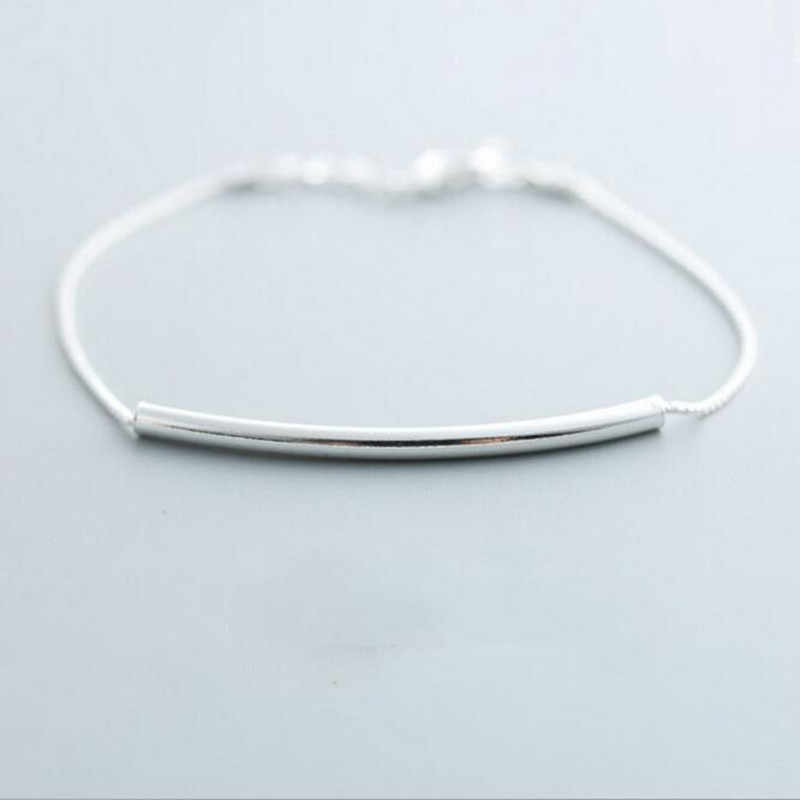 New Fashion Simple Exquisite Cross Pipe Female 925 Sterling Silver Jewelry Ornaments Wild Accessories Bracelet   SB7