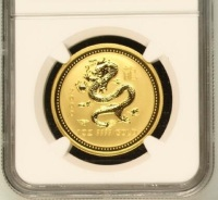 Verified 2000 Australia year of dragon one ounce tungsten coin plated 1.5 gram fine gold and graded MS70