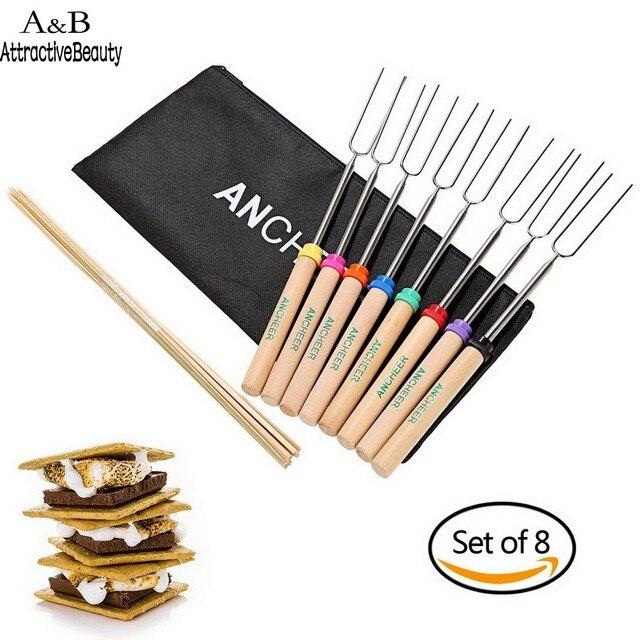 Ancheer 10 Bamboo Щупы Нержавеющая сталь расширяемой обжарки Щупы набор из 8 Барбекю аксессуар N3020