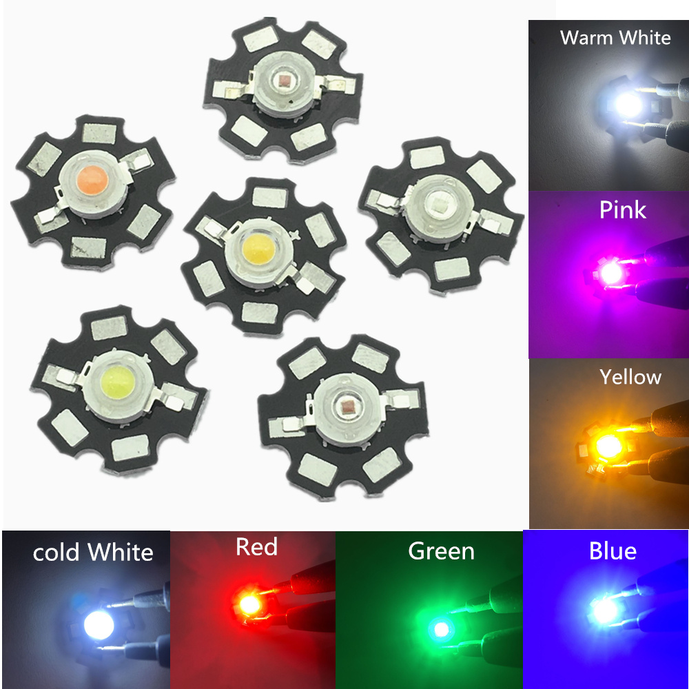 10Pcs 3W High Power Chip white Red Blue Green light Bead Emitter LED Bulb Diodes Lamp Beads with 20mm Star PCB Platine Heatsink|Light Beads|   - AliExpress