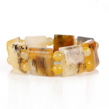 Drop Shipping Natural YunNan HuangLong  Jade Bracelets Water Grass Stone Jewelry For Women Men Gift