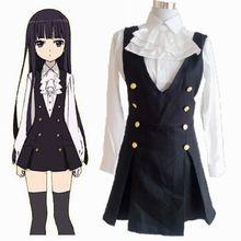 Envío Gratis Nuevo Anime Inu x Boku SS Shirakiin Ririchiyo Cosplay Uniforme Escolar camisa + falda de los apoyos + medias