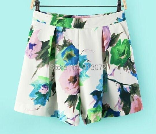 Mulheres plissado da cópia floral shorts bolsos com zíper hot shorts calções grife marca magro ocasional qualidade DK189