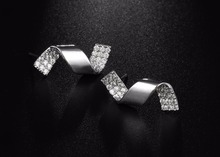 Trendy Full Crystal Spiral Shaped Stud Earrings For Women
