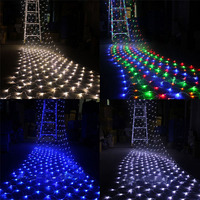 204 led bulbs 3x2m Light Net Holiday Festival Christmas Garden String Lamp decor Waterproof Warm White Blue RGB with EU Plug